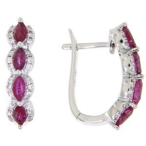 Solid Marquise Ruby Diamond Earrings White Gold